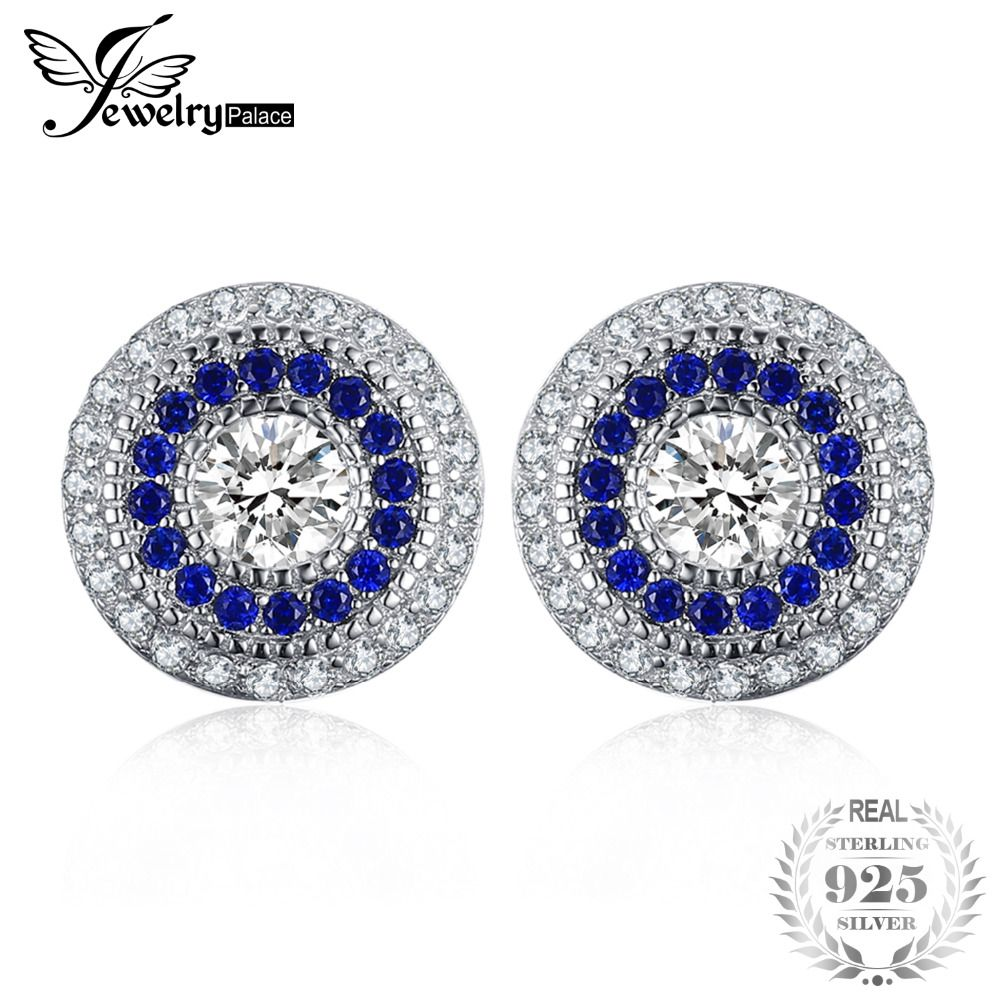 JewelryPalace Triangle 2.3ct Created Blue Sapphire Stud Earrings 925 Sterling Silver Vintage Earrings For Women Top Fine Jewelry