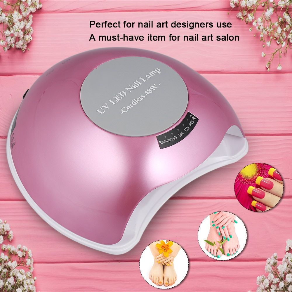 48W Cordless UV LED Nail Lamp Rechargeable Nail Gel Dryer Fingernail&Toenail Gel Curing Machine Nail Art Painting US/EU/ UK Plug