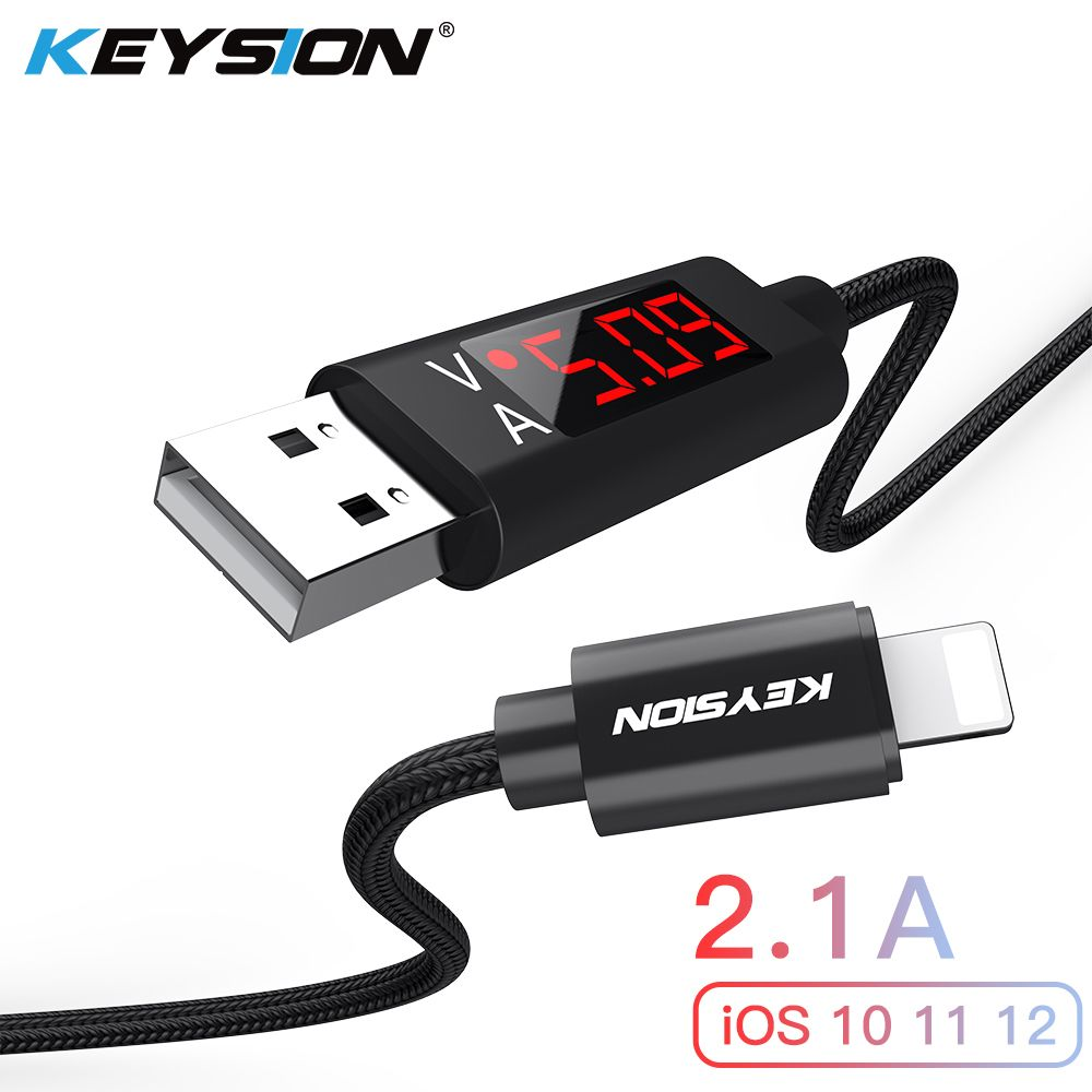 KEYSION 2.1A LED Digital USB Cable For iPhone XS Max XR 8 7 Plus Charger Voltage Current Display Charge Data Nylon Braided Cable