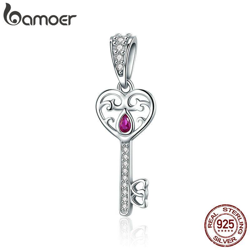 BAMOER 100% 925 Sterling Silber Glück Schlüssel Herz Form Anhänger Charme fit Frauen Armbänder & Halsketten Schmuck Geschenk SCC791