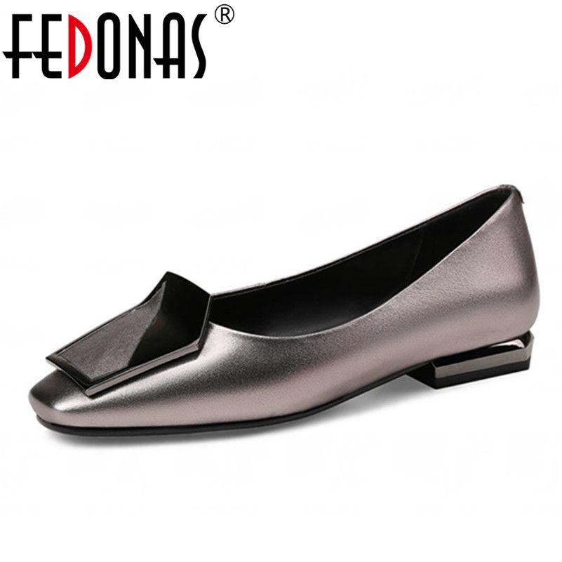 FEDONAS 2018 Nouvelle Mode Femmes Chaussures En Cuir Véritable Bout Carré mince Haute Talons De Luxe Chaussures Femme De Mariage Parti Pompes Grande taille