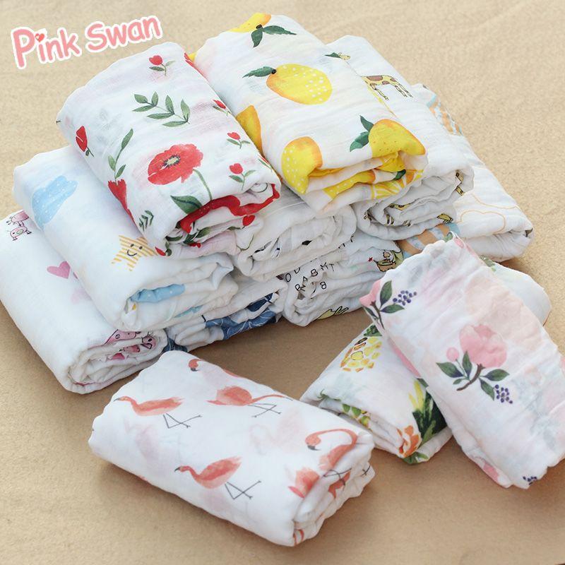 Rose cygne 100% coton flamant Rose fruits imprimer mousseline bébé couvertures literie infantile Swaddle serviette pour les nouveau-nés Swaddle couverture