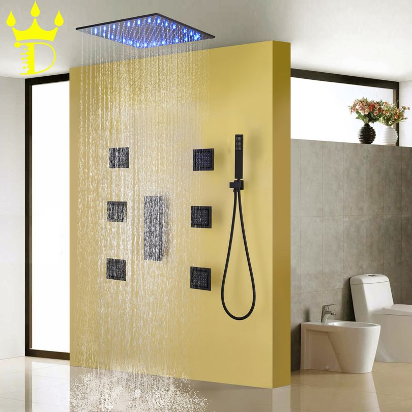 DISGOD Bad & Dusche Set Zubehör Temperatur Empfindliche LED Regen Dusche Kopf Matte Frosted Schwärzen Bad Dusche Wasserhahn