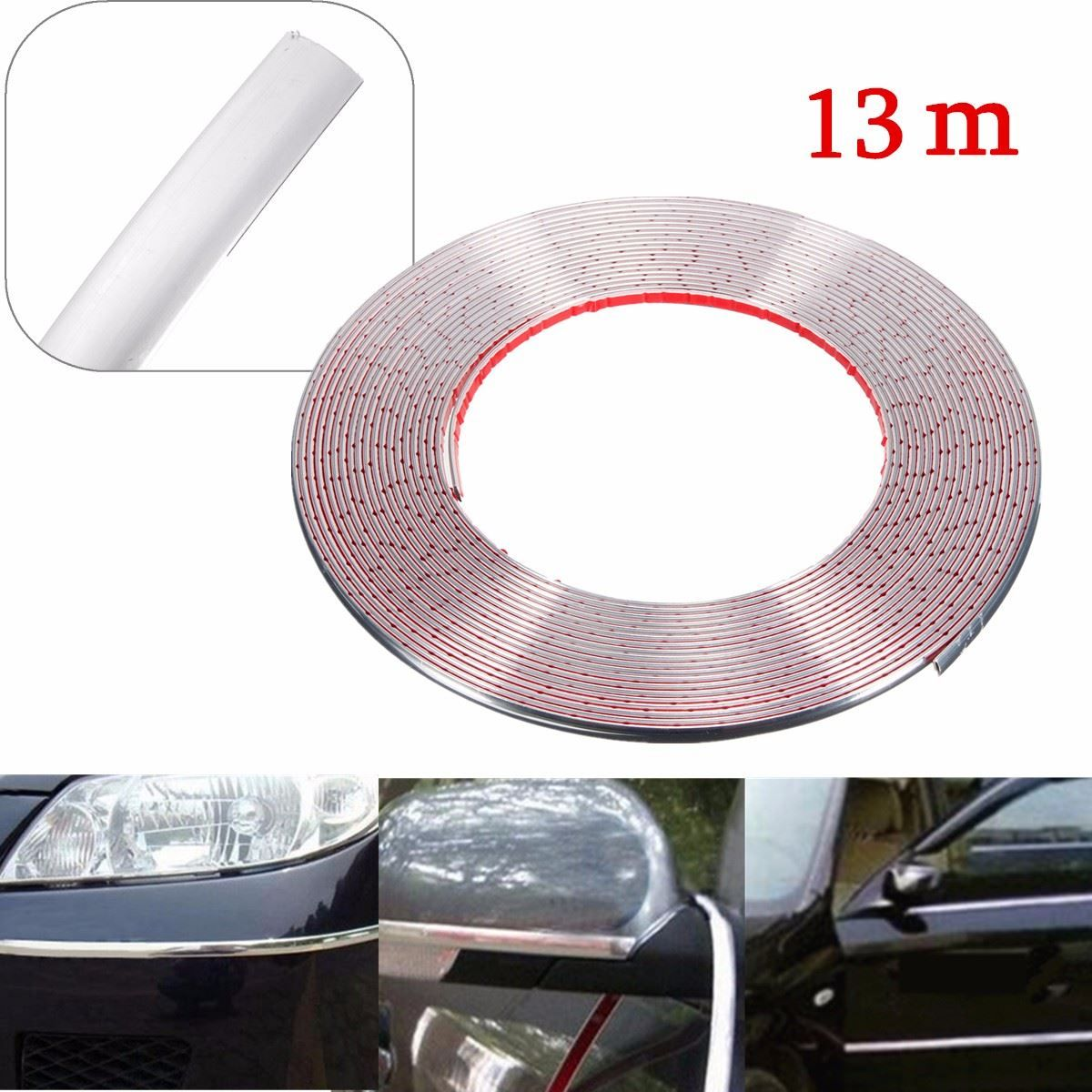 13m 8mm Silver Chrome Car Door Egde Guard Body Styling Moulding Strip Adhesive Trim