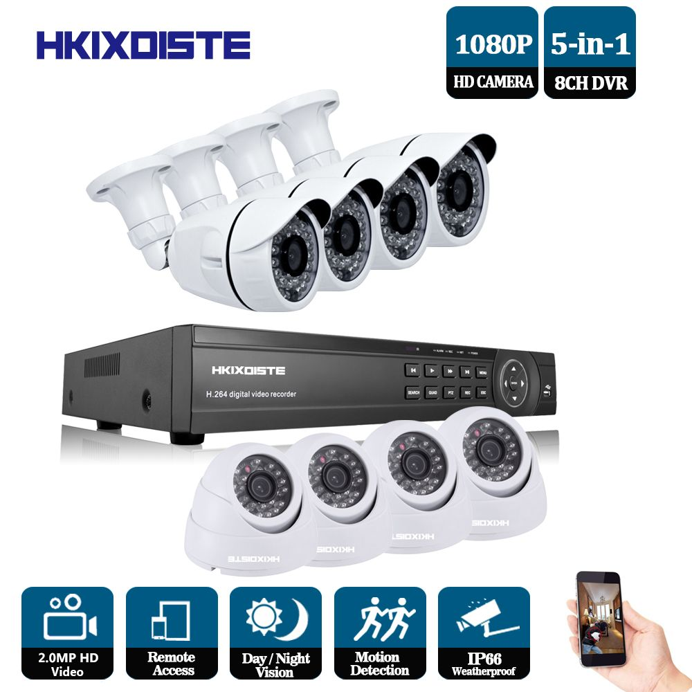 2.0MP HD indoor Outdoor Security Camera System 1080P HDMI CCTV Video Surveillance 8CH DVR Kit night vision 2.0MP AHD Camera Set