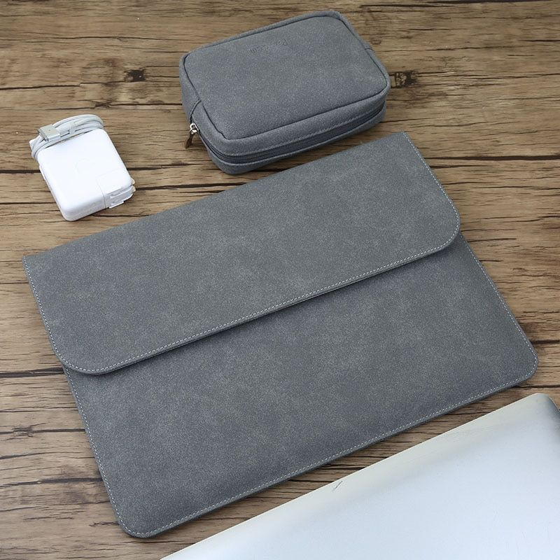Matte Magnetic Buckle PU Laptop Sleeve Bag For Xiaomi Macbook Pro 13 Case Air 11 12 Retina 2018 New 15 Touch Bar Women Men Cover