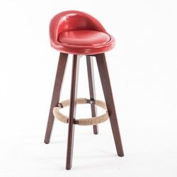 Wooden Swivel Bar Stool Chair With Leather Seat&Back Mahogany Finish Coffee Cafe Bar Kitchen Furniture Chair Stool Height 73cm