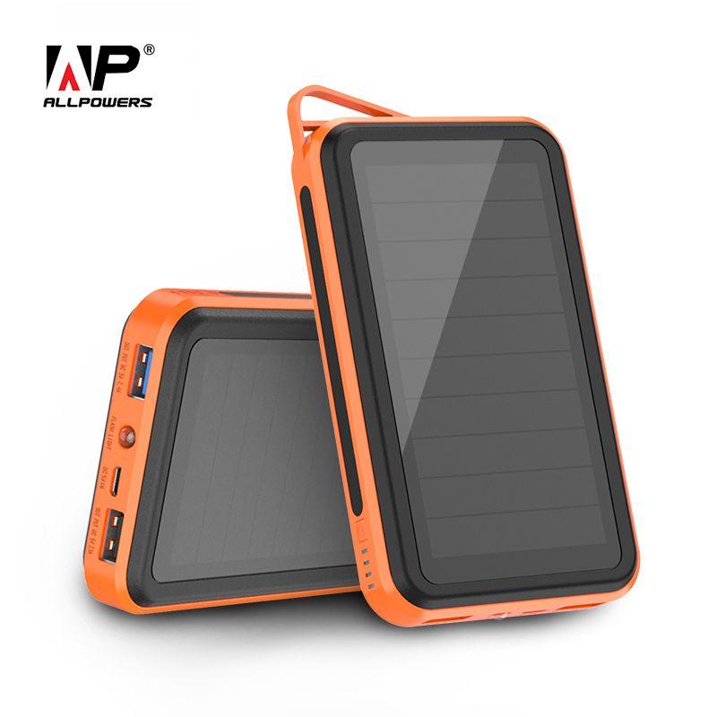 ALLPOWERS 15000 mah Solaire PowerBank Portable Téléphone Chagrer Batterie Externe pour iPhone 5 6 6 s 7 8 X Plus samsung ipad Huawei