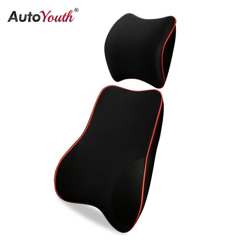 AUTOYOUTH Car Lumbar Support Pillow and Car Headrest Neck Pillow Kit -  Healthcare Lumbar Support Universal Fit Major Car Seats