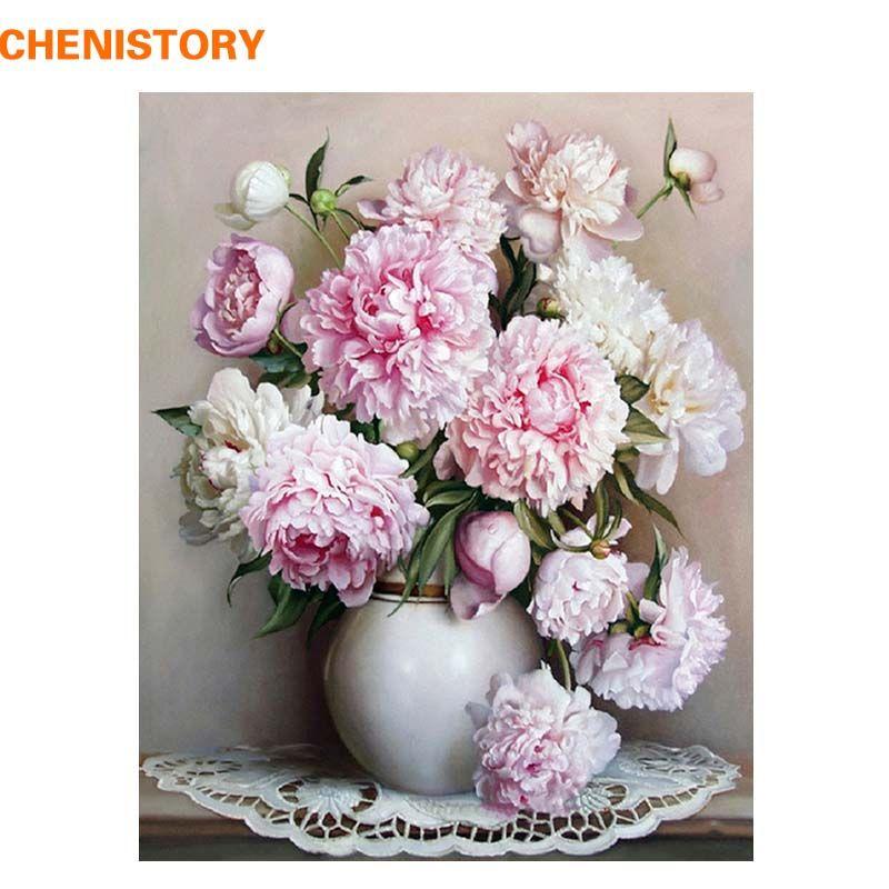 CHENISTORY rose Europe fleur peinture à la main par numéros peinture acrylique par numéros peinture à l'huile peinte à la main sur toile pour la décoration intérieure