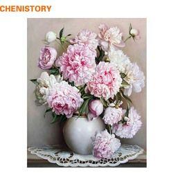 Chenistory розовый Европейский цветок DIY Краска ing по номерам Акриловая Краска по номерам ручная краска ed масляная живопись на холсте для домашне...