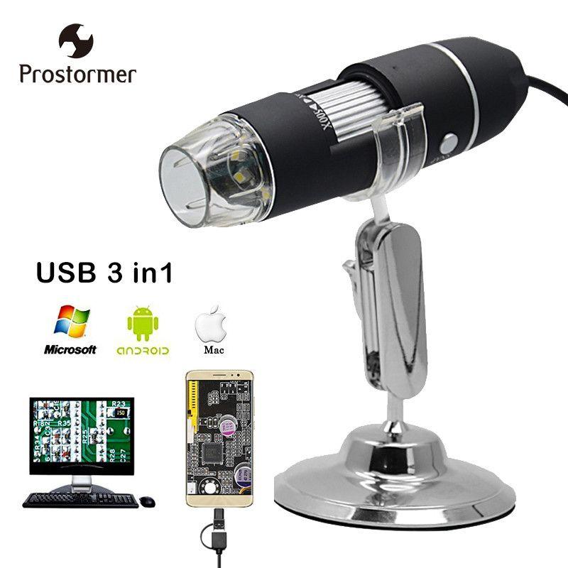 Prostormer USB microscope Electron microscope Mac/Window 7 8 10/Android/typec microscopio Endoscope led Camera Magnifying Glass