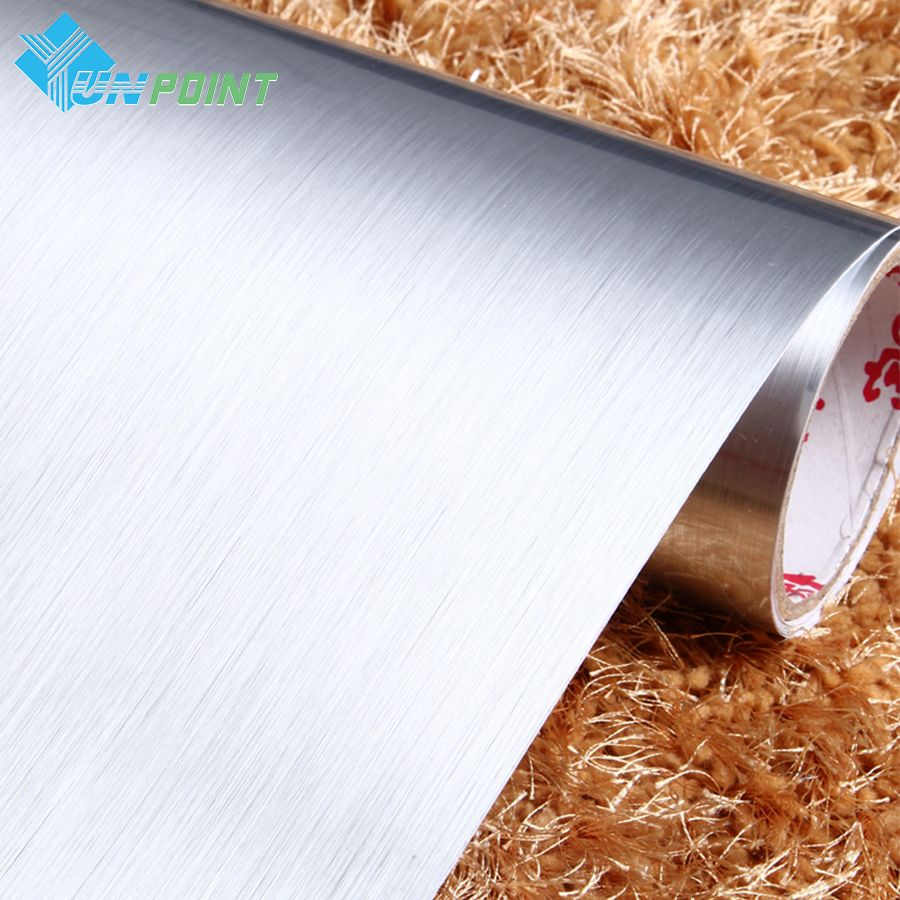 PVC Self adhesive Wallpaper Silver Brushed Stainless Steel Household Appliance Stickers Vinyl Furniture Film For Home Decoration