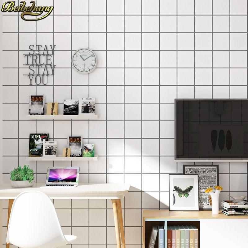 beibehang Nordic simplicity Black white lattice squares Wall Panel Mural Non-woven wall paper papel de parede 3d Wallpaper roll