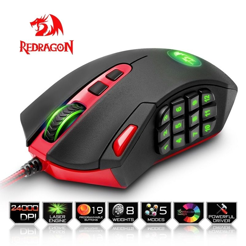 Redragon USB Gaming Mouse 24000 DPI 19 buttons ergonomic design for desktop computer accessories programmable Mice gamer lol PC