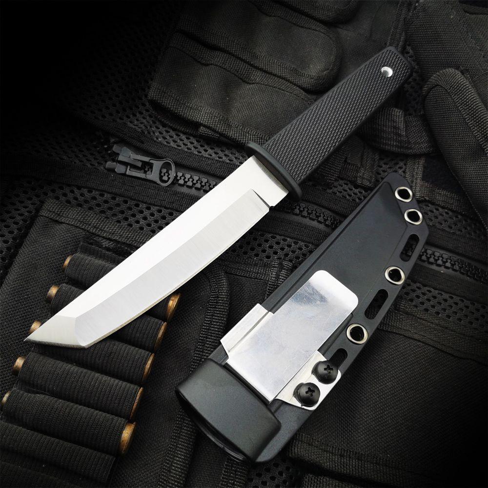 ZASSHU acier froid chasse couteau à lame fixe 440C acier inoxydable Long Kraton poignée en plastique extérieur tactique couteau ABS gaine