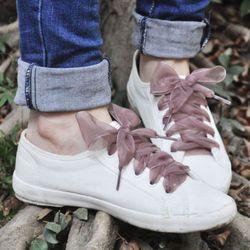 1 par 110 cm moda Zapatos trings mujeres Cordones para zapatos plana cinta de satén de seda zapato Encaje s sneakers deporte Zapatos Encaje arco