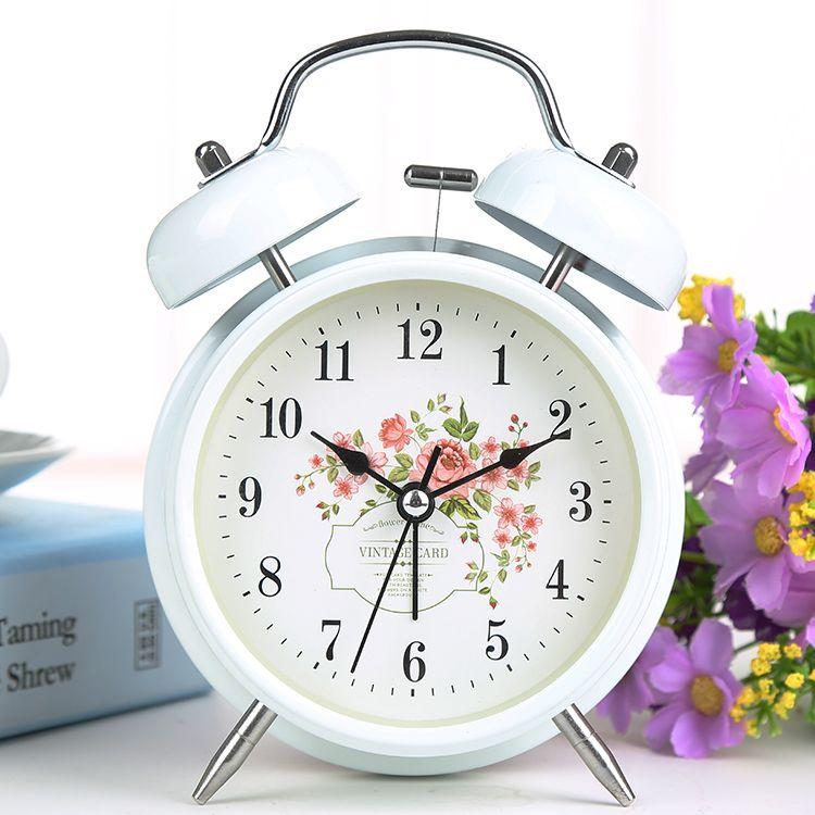 Large 4 Inches Creative Clock Personality Mute Alarm Clock Metal Digital Nightlights Table Clock <font><b>Bell</b></font>