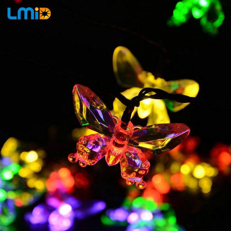 LMID lampes solaires coloré papillon guirlande fée Luces étanche noël extérieur jardin solaire décoration lumineuse à LED