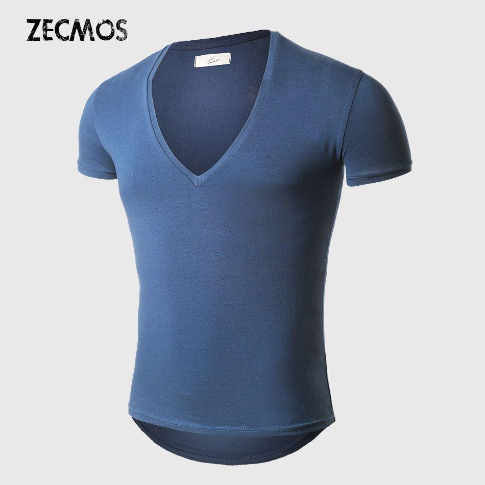 21 couleurs col en V profond T-Shirt hommes mode Compression à manches courtes T-Shirt mâle Muscle Fitness serré haut d'été t-shirts