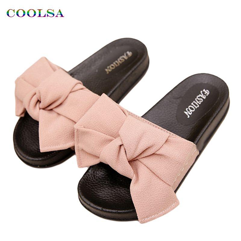 COOLSA D'été Femmes Pantoufles Arc de Tissu Designer Plat Non-Slip Mignon Diapositives Maison Flip Flop Sandale Casual Femme robinet Plage Chaussures