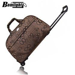 Bomlight mujeres y hombres Bolsas de viaje maleta con Ruedas moda equipaje impermeable grueso estilo de Rolling maleta trolley equipaje