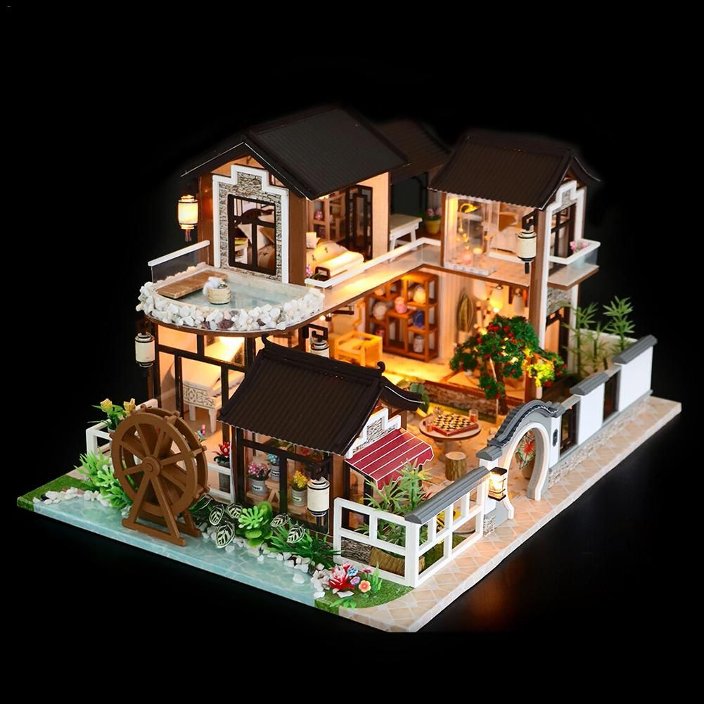 DIY Dollhouse Ancient Architecture Without Dust Cover With Furniture Wooden House Children's Toys Holiday Time