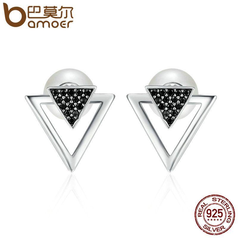 BAMOER 100% 925 Sterling Silver Double Triangle & Imitation Pearl Stud Earrings for Women, Clear CZ Luxury Jewelry Bijoux SCE151