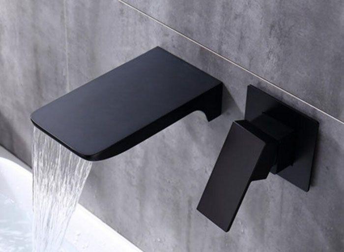 Wand Montiert Messing Wasserfall WASCHBECKEN WASSERHAHN, Schwarz oder Chrom Waschbecken Wasserhahn, bad Verborgen Heiß und Kalt Wasser Mischbatterien WB01