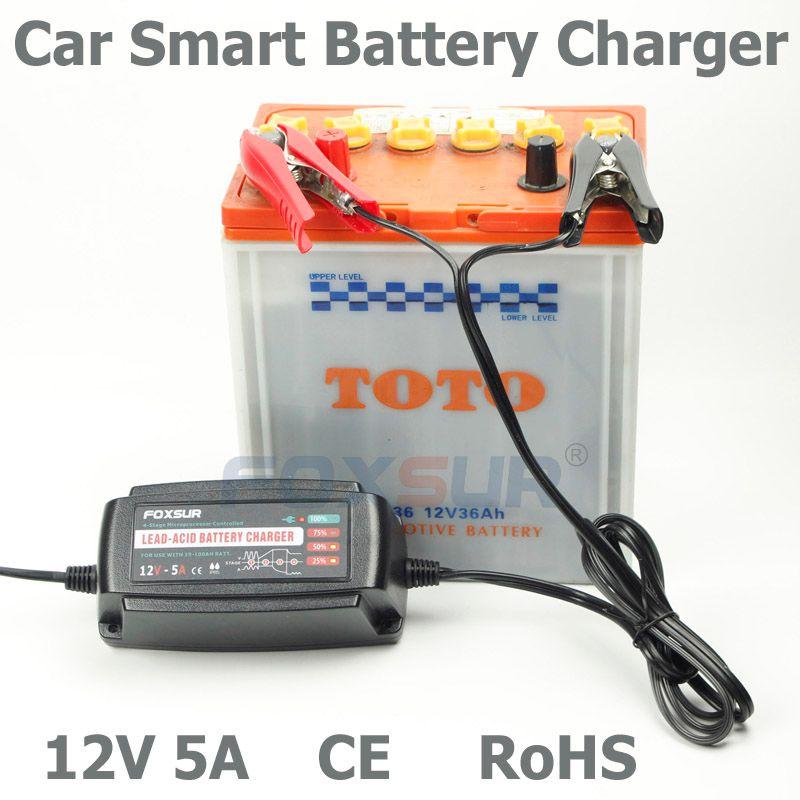 Foxsur 12V 5A Car Battery Charger Maintainer & Desulfator Smart Battery Charger for AGM GEL WET Batteries EU/AU/UK/US Plug