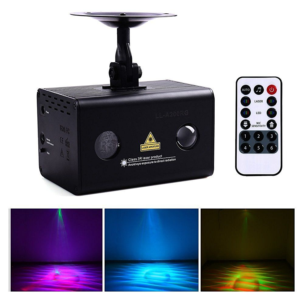 Rouge vert Aurora Laser Galaxy ondulé lumière LED scène projecteur sans fil télécommande et son actif, DJ, Club Bar, fête à la maison