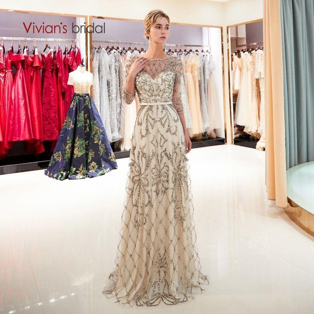 Vivian's Bridal 2018 Hand Made Crystal Bead Pattern Women Formal Evening Dress Navy Blue Champagne Gold Sweep Train Full Dress