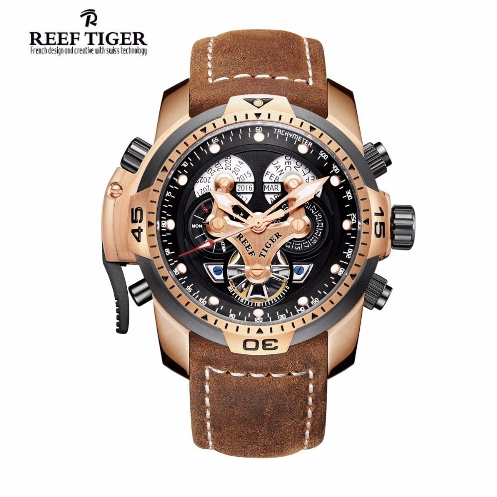 Reef Tiger/RT Sport Watches for Men Genuine Brown Leather Strap Rose Gold Automatic Wrist Watch RGA3503