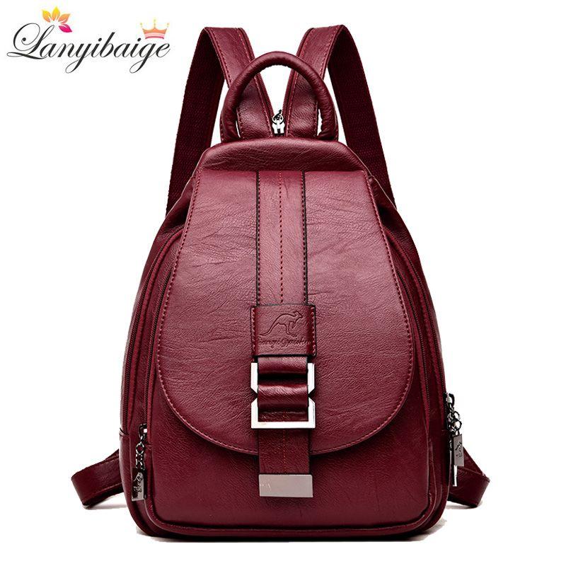 Hiver 2018 femmes sacs à dos en cuir mode sac à bandoulière femme sac à dos dames voyage sac à dos Mochilas sacs d'école pour les filles