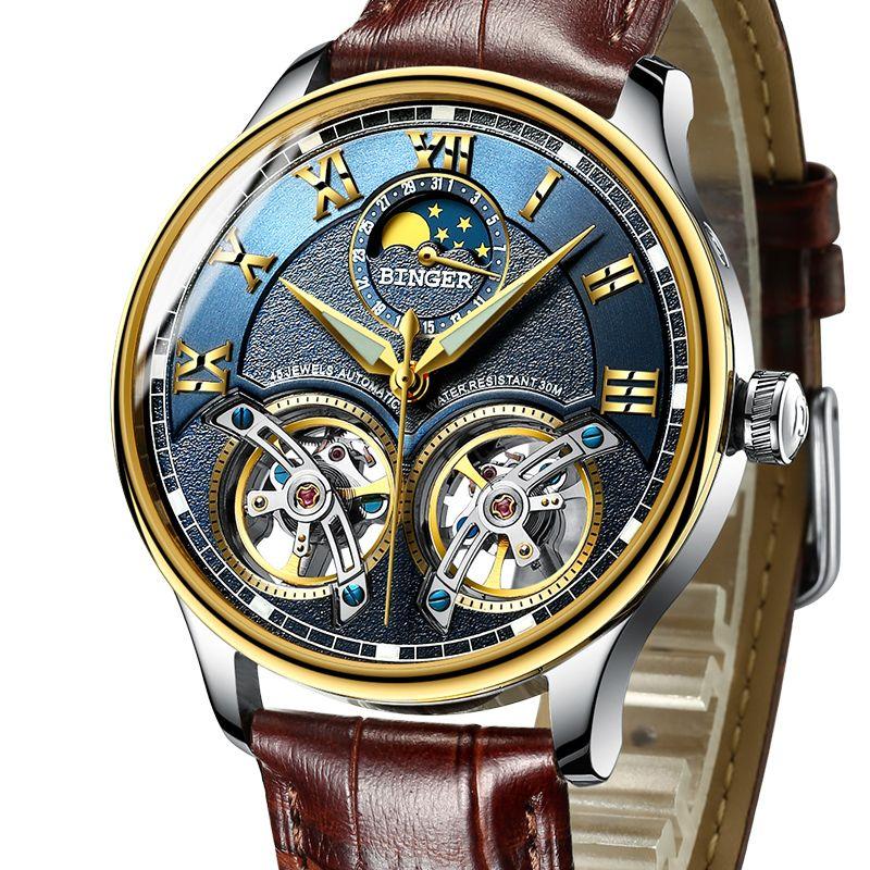 2017 Mechanical Men Watches Binger Role Luxury Brand Skeleton Wrist Sapphire Waterproof Watch Men Clock Male reloj hombre 8606M