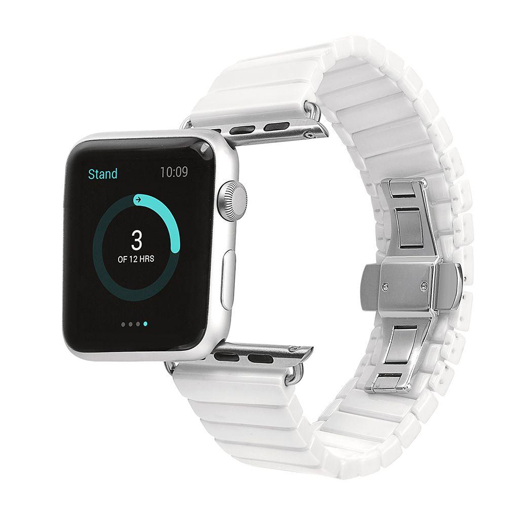 Espace Céramique Montre Bande pour Apple Watch Band Bracelet Lien Bracelet 38mm 42mm Noir Blanc avec Adaptateur pour iwatch Lien Bracelet