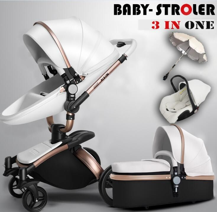Free Shipping Luxury Baby Stroller 3 in 1 Fashion Carriage European Pram Suit for Lying and Seat
