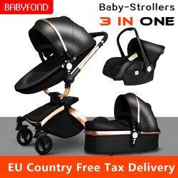 25 USD Coupon! Multi-Fungsional Mewah Kereta Dorong Bayi 3 In 1 360 Derajat Emas Bingkai Pu Dorong Uni Eropa Keselamatan Kursi Mobil Keranjang baru Lahir