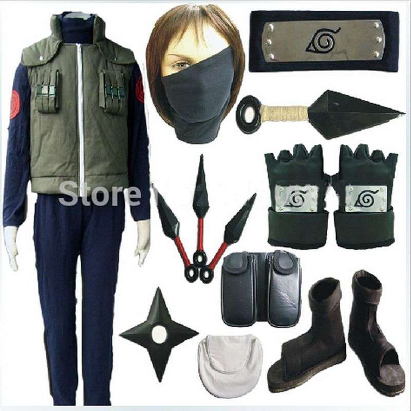 Hot Naruto Hatake Kakashi cosplay costume full set include shoes+kunai+headband+leg&waist bag+mask+glove Halloween costume 1.5kg