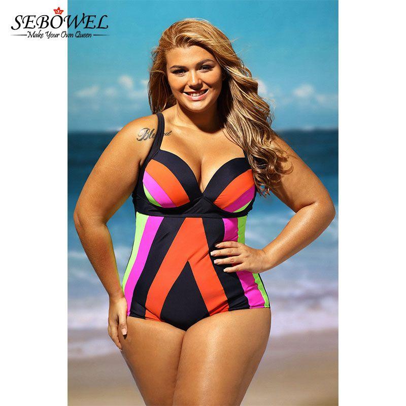 SEBOWEL grande taille maillot de bain femmes une pièce maillots de bain taille haute Bikini grande taille maillots de bain chaud Biquini maillot de bain 4XL 5XL