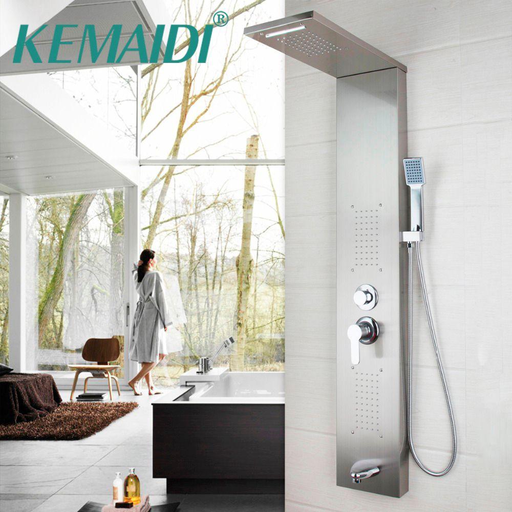 KEMAIDI Dusche Panel Neue Dusche spalte Solide Messing Bad Regen Dusche Kopf W/Hand Sprayer Wasserhahn Dusche Set Armaturen