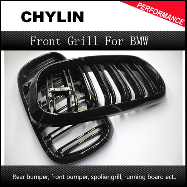 A Pair 14 -16 For BMW X5 F15 X6 F16 2014 2015 2016 Front Grille Dual Slats Gloss Black Finish