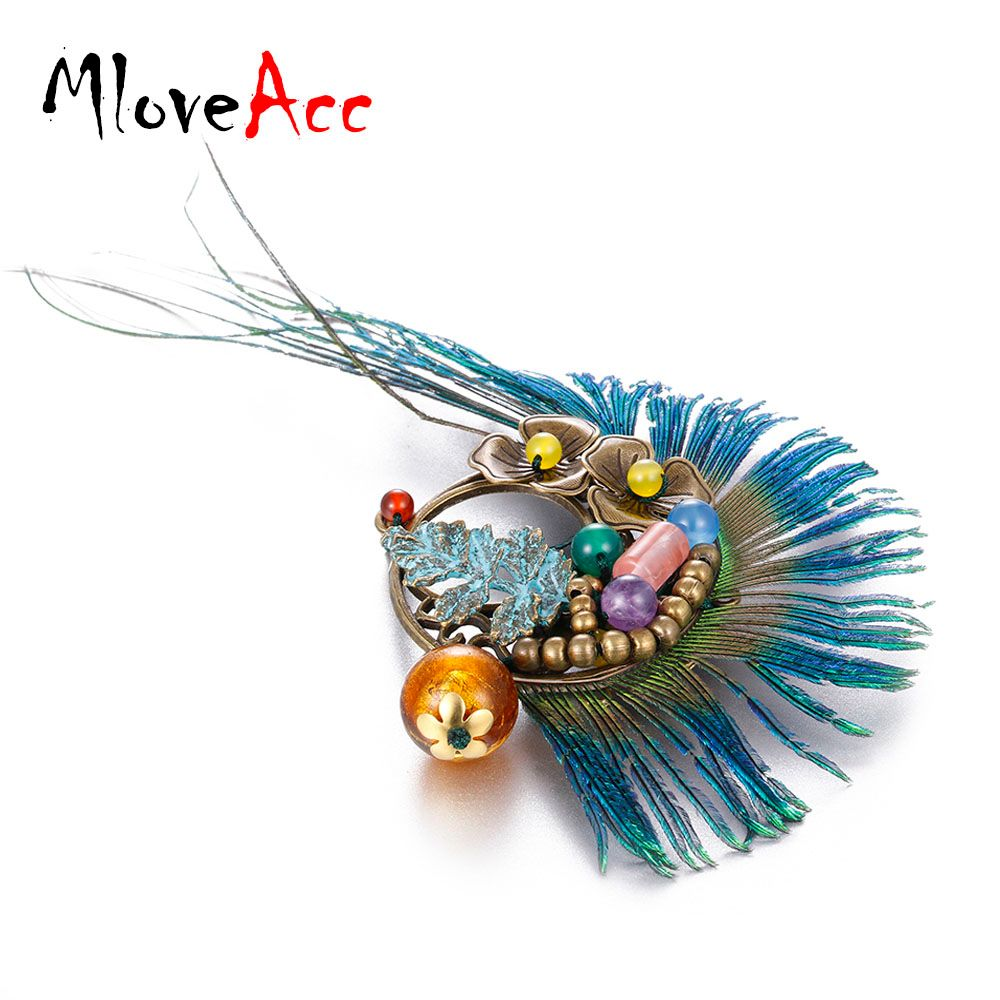 MloveAcc Ethnic Bohemia Peacock Feather Brooch Vintage Stone Charm Brooches Pins Hat Accessories Scarf Clip Best Match for Women