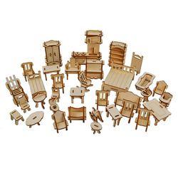 34 PCS Laser Cut-Dollhouse Furniture Kayu 3D Puzzle Model Miniatur Rumah Boneka Aksesoris Kerajinan Mainan