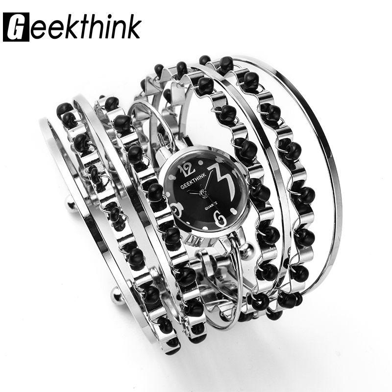 GEEKTHINK Bohemio Estilo de la Marca de Lujo Reloj de Cuarzo Pulsera de Las Mujeres Casual de Las Señoras Vestido Reloj Mujer Niñas Reloj de pulsera de banda de Acero