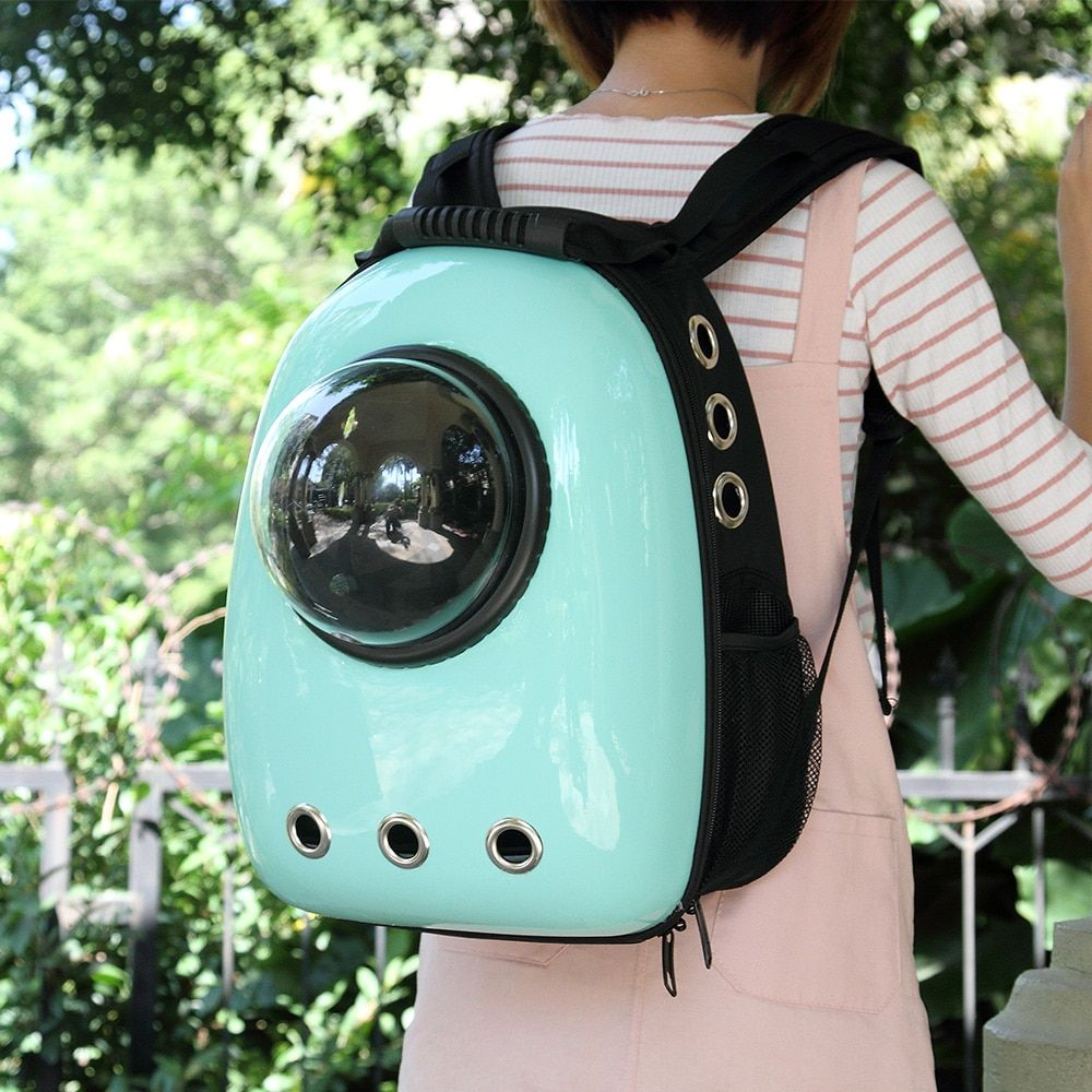 DREAMSOULE Space Pet Backpack Capsule Bubble Pet Carrier Space Pet Bag Waterproof Handbag Backpack for Cat and Small Dog - Cyan