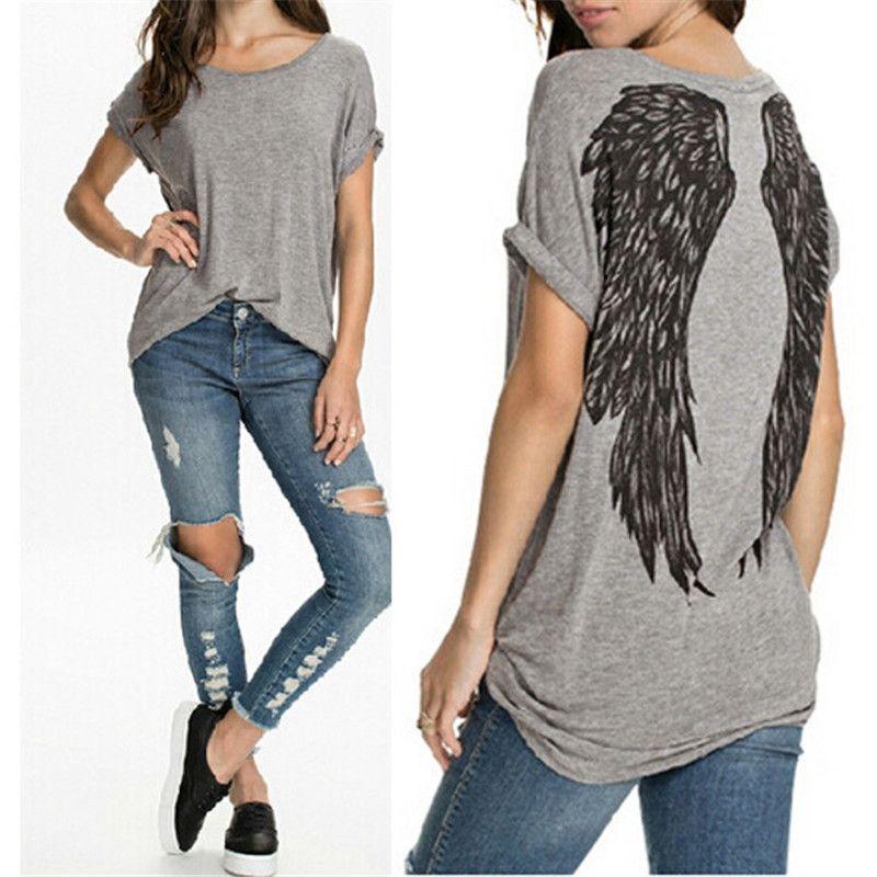 Nueva moda mujer t-shirt Tops 2018 back Angel Wings imprimir o Masajeadores de cuello Camisas casual verano estilo Manga corta Camisetas Tees blusas
