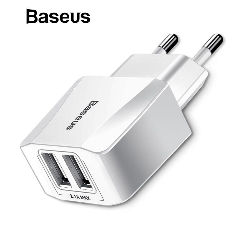 Baseus 5V 2.1A Dual USB Charger For Phone Fast Charging Charger Portable EU Plug Travel Adapter Wall charger for iPhone samsung
