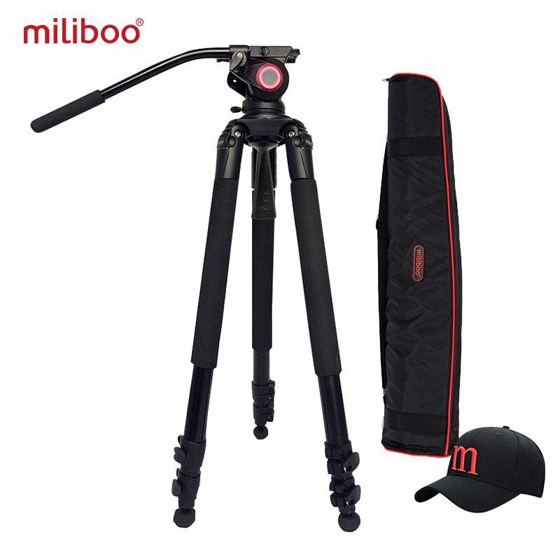 Miliboo MTT701 trépied vidéo professionnel caméscope en aluminium trépied d'oiseau d'amortissement résistant pour appareil photo reflex numérique 3 sections DHL gratuit