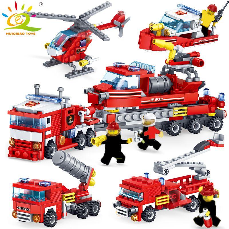 348 pièces lutte contre l'incendie 4in1 camions voiture hélicoptère bateau blocs de construction Compatible ville pompier chiffres enfants jouets